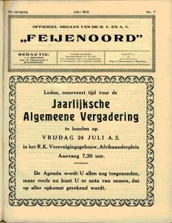 De Feijenoorder Juli 1931
