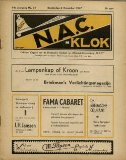 NAC Klok 6 November 1947
