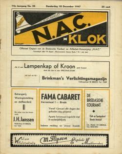 NAC Klok 18 December 1947
