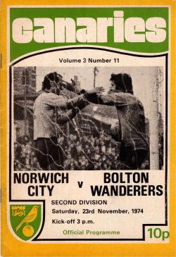 Programma Norwich-Bolton Wanderers 1974
