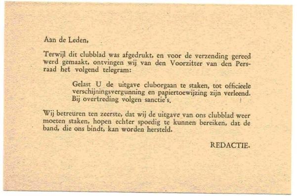 Insert in De Feijenoorder Februari 1946 over papierschaarste